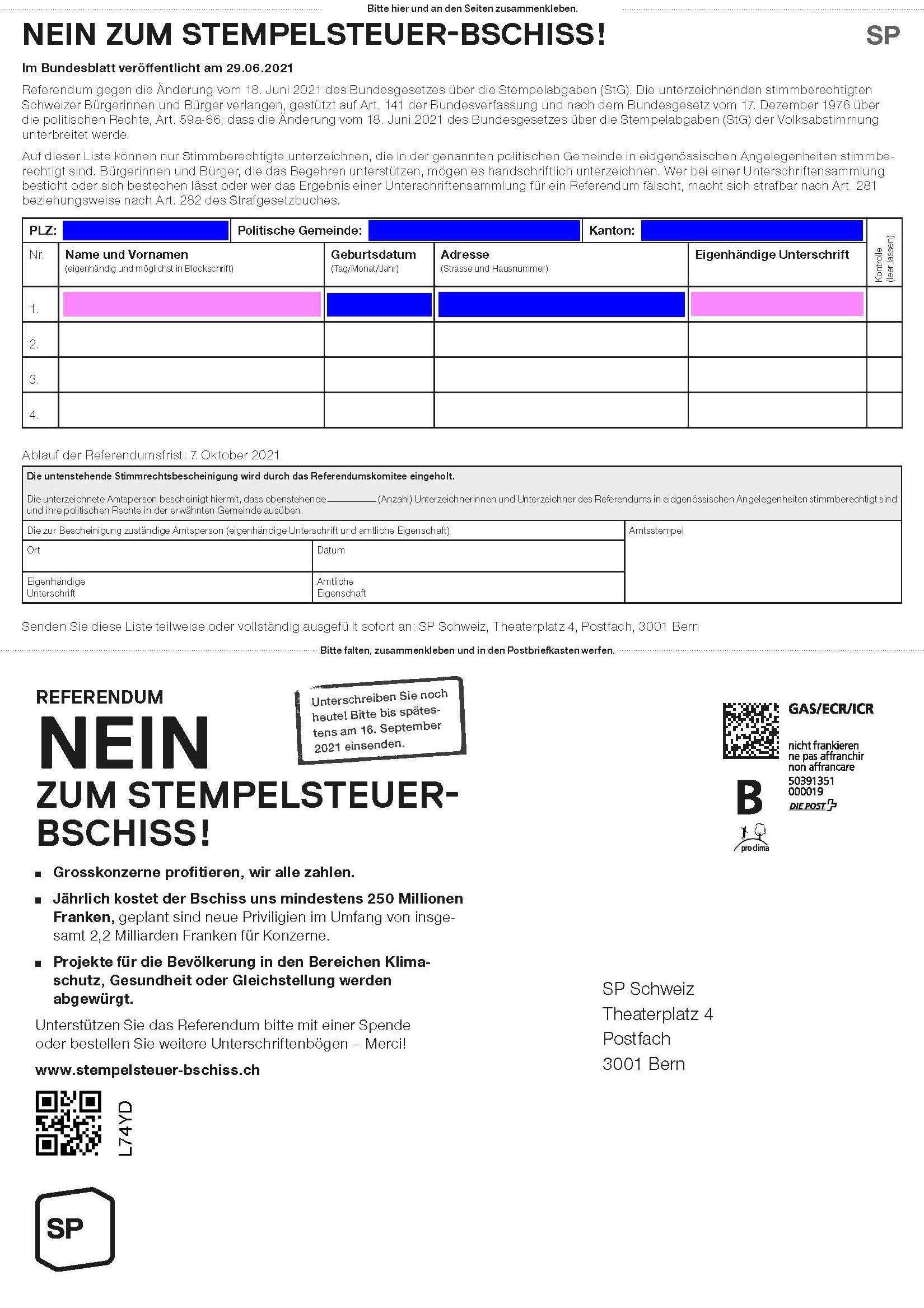 Vorschau Unterschriftenbogen